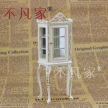 1/12 Scale Miniature Furniture white Handmade Gold glass display cabinet