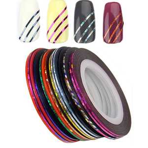 Image 2 - 30pcs Coloful Sliders For Nails Sticker Decals Tape For Nail Art Decorations Striping Tape Line Adhesive Ribbon 1mm
