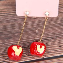 Fashion Gadis Indah Merah Tetes Glaze Apple Anting-Anting Malam Natal Kartun Cinta Rantai Panjang Apple Kreatif Buah Anting-Anting Menjuntai(China)