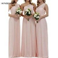 بسيط الوردي العروسة فساتين طويلة لحضور حفل زفاف خط الحبيب واحد الكتف الشيفون اللباس bridemaids BDS027