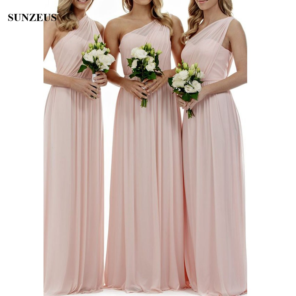 Simple Pink   Bridesmaid     Dresses   Long Chiffon Gowns For Wedding Party A-line Sweetheart One Shoulder   Dress   Bridemaids BDS027