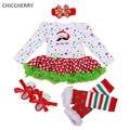 Navidad Santa Claus Traje de Lunares Lace Dress Romper Diadema Perneras Zapatillas Ropa De Bebe Baby Girl Trajes de Navidad