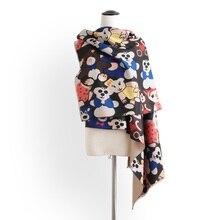 7bd6332a248e Nouveau mode multicolore de bande dessinée cachemire pashmina foulards  femmes hiver épais chaud laine couverture écharpe marque .