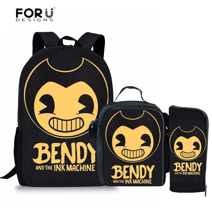 FORUDESIGNS Bendy and The Ink Machine Printing School Bags Backpacks for Children Boys G ...
