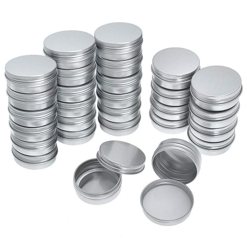 Pack Of 40 Screw Top Round Aluminum Tins Cans   Aluminum Screw Lid Round Tin Container Bottle|Makeup Organizers| |  - title=