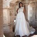 Robe de mariage satin plus size wedding dresses 2017 lorie um linha Sexy Backless Cap Lace Mangas Vestido De Noiva Vestidos de Noiva