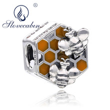 Bee Hive New Collection 925 Sterling Silver Honeycomb Honey Bee Square Charm Beads fit Women Bracelet DIY Jewellery Making k3feGMg16e