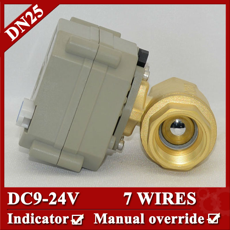 ФОТО 1'' DC9-24V 7 Wires  Electric Valve,BSP/NPT thread,  DN25 Brass electric water Valve with for irrigation
