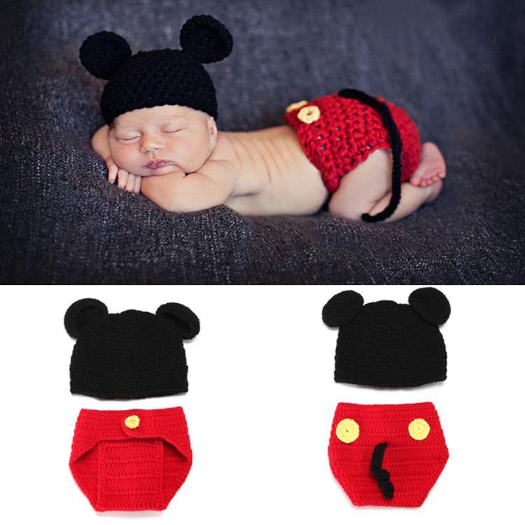 ᗗMickey diseño del ganchillo del bebé del sombrero y del pañal ...