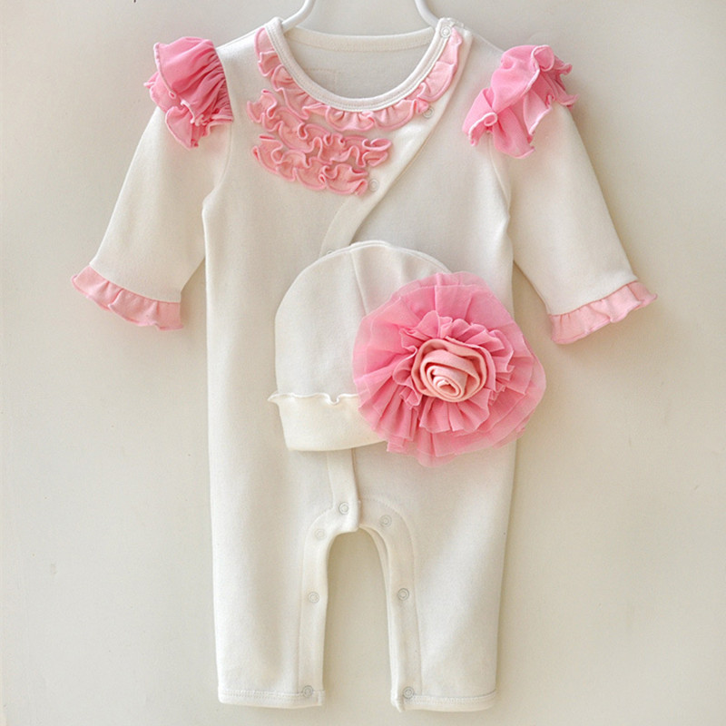 ff2453715ace Newborn Princess Style Newborn Baby Girl Clothes Kids Birthday Dress Girls  Lace Rompers+Hats Baby Clothing Sets Infant Jumpsuit-in Clothing Sets from  Mother ...