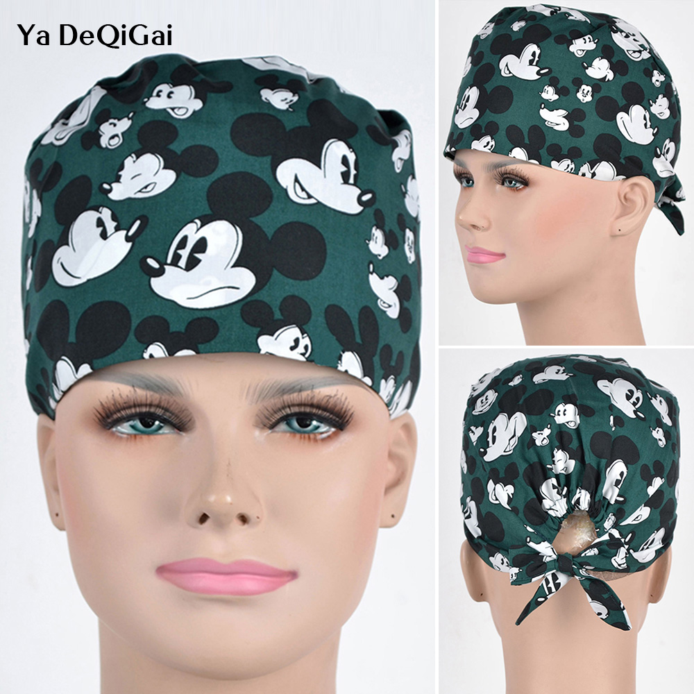 Hospital Medical Hat Cotton Surgical Caps Printing Scrub Cap For Women And Men Print  In Green Tieback Elastic Section Dentist