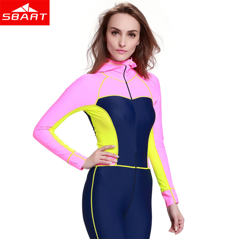 SBART Women Long Sleeve Lycra Diving Wetsuit One Piece Spearfishing Surfing Wetsuits Hooded Scuba Diving Equipment Wet Suit sbart upf50 806 xuancai