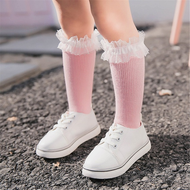 d198b6e25 Baby Knee High Socks for Kids Girls Cotton Lace Toddler children socks  White Pink Princess Children Long Sock SK161