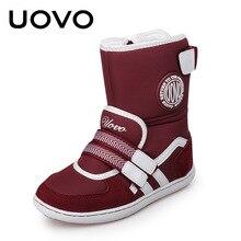 Обувь для детей дети скольжению Сапоги и ботинки для девочек uovo бренд Обувь для мальчиков Обувь для девочек зимние сапоги лыжный ткань и замши Теплые Chaussure EU26-39