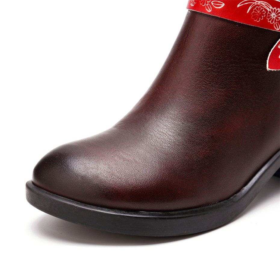 Women Cow Leather Boot Shoes 2019 Spring Autumn Ladies Mid-Calf 4cm Heels Shoes Fashion Bohemia Genuine Leather Boots Large Size (10)
