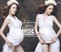 Do laço branco longo mulheres grávidas vestido de maternidade v pescoço transparente maxi vestidos roupas femininas maternidade fantasia photopraphy props