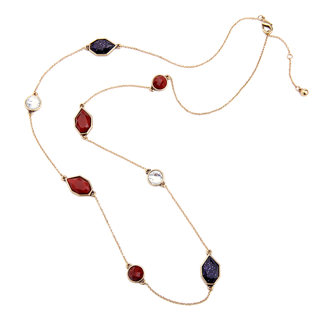 KISS ME Geometric Synthetic Stone Long Necklace New Design Fashion Jewelry Vintage Accessories Birthday Gifts