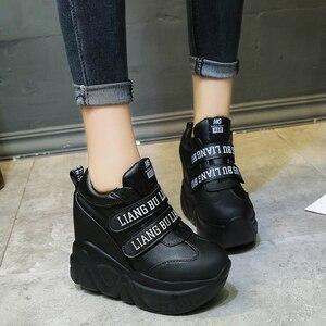Image 4 - WGZNYN אביב סתיו 12 Cm סופר Hihg טרז נעלי אישה סניקרס נקבה נעליים יומיומיות וו לולאה נוח פלטפורמת Sneaker W05