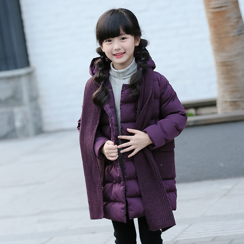 Fashion Winter High Quality Children Girl cotton Jacket Kids Padded Outerwear Coat Baby Long Style purple blue