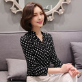 Moda Elegante de manga comprida mulheres chiffon blusa 2016 Primavera Polka Dot impresso mulheres roupas plus size mulheres chiffon camisa