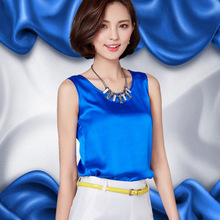 New fashion Women Blouse Sleeveless Summer Tops Blusas 2016 Solid color all-match Silk Vest shirt Plus size Casual Chiffon