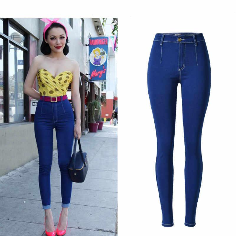 b9e431e069556 ... Women Jeans High-Waist Denim Pencil Pants Slim Fit Elastic Stretchable  Butt Push Up Denim