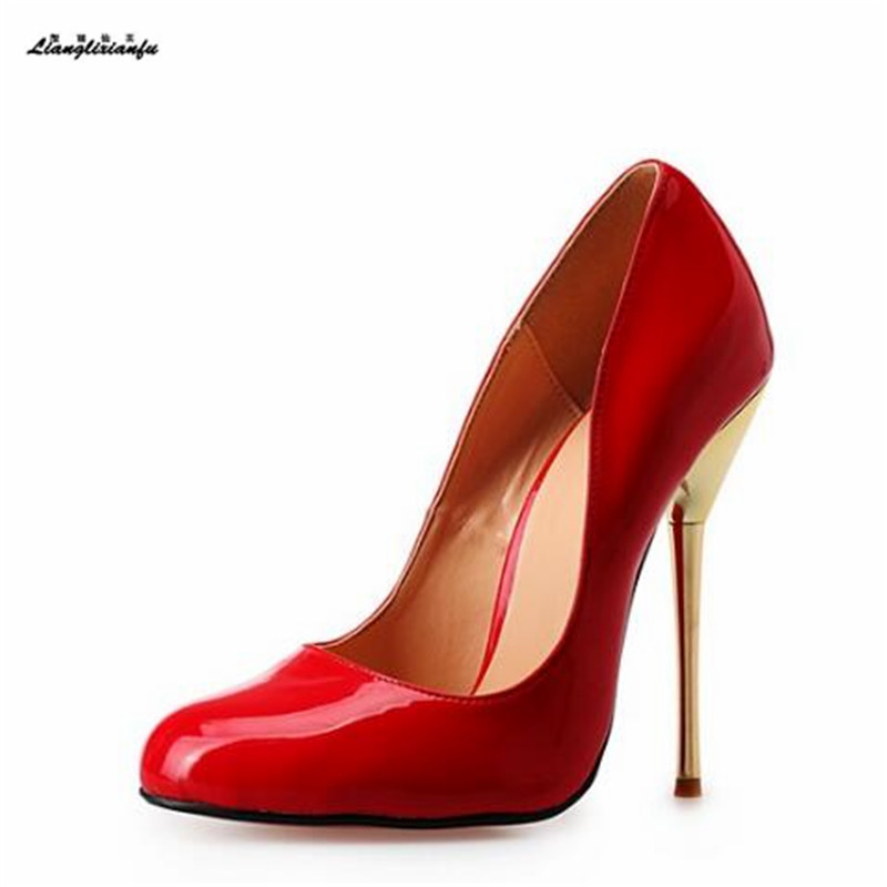 Stiletto 14cm Dress Shoes Leather Pumps Thin-Heels Metal Women's Red/nude 48 Pantent