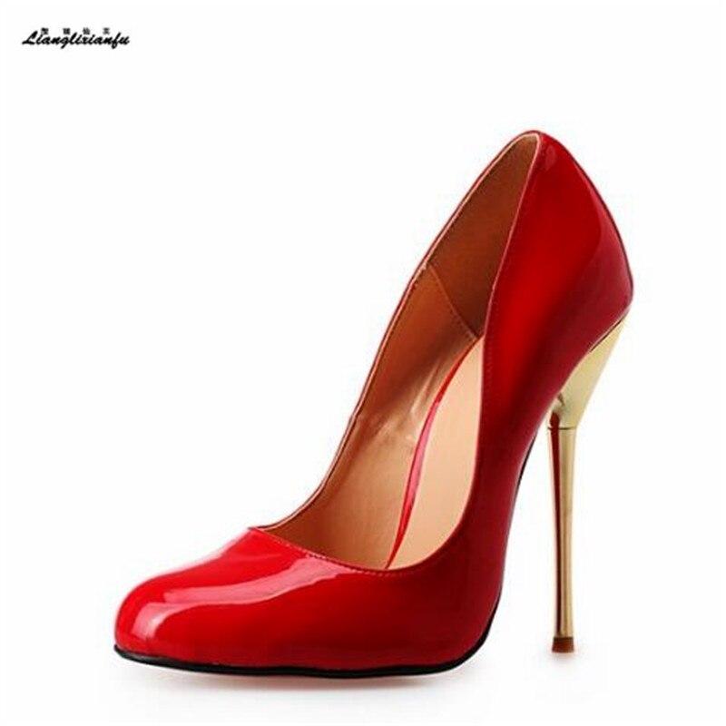 Llxf Plus: 40-45 46 47 48 49 50 gota estilete 14 cm metal tacones delgados de las mujeres rojo/ vestido nude zapatos pantent cuero bombas
