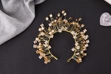 Dower me Handmade Gold Crystal Tiara Wedding Hair Crown Bridal Hair Jewelry Accessories Women Headband