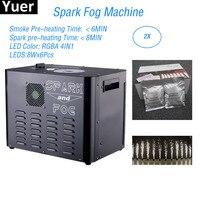 Flightcase Pack 2300W Spark Fog Machine 8X6W RGBA 4IN1 LED Stage Cold Spark Fountain Machine DJ Disco Light Party Stage Machine