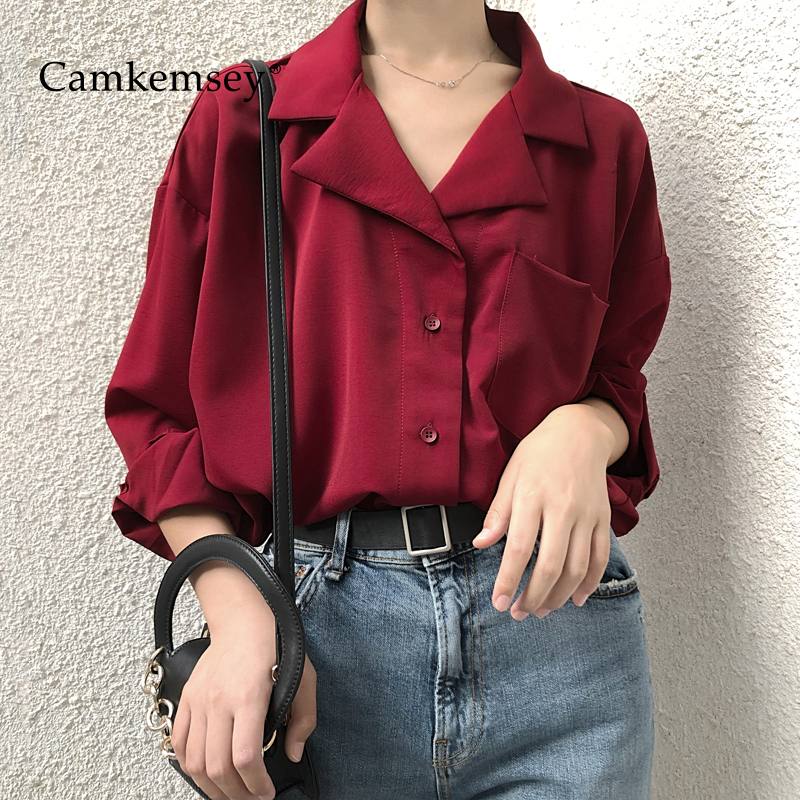 CamKemsey Korean Brief Design Lady Solid office   Shirts   2019 Fashion Turn Down Collar Spring Autumn Long Sleeve   Blouses     Shirts