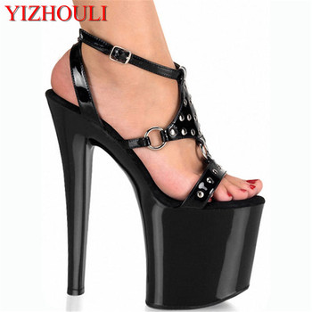 20cm Tangerine black high heel sandals, temptation of the lacquer that bake paint high heel, party Dance Shoes