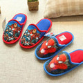 2016 new Winter Boys Girls Indoor Home Shoes Chidren Warm Cotton Padded Shoes Boys Spider-Man Avengers Cartoon Slippers