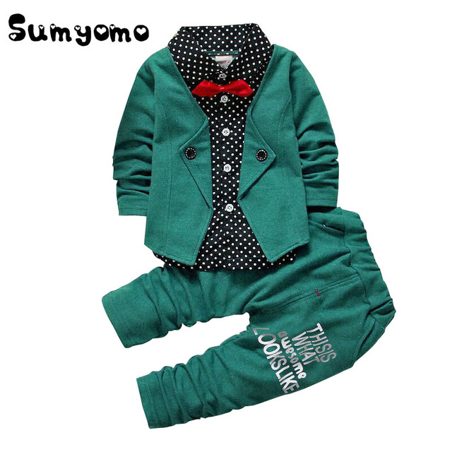 Toddler Boys Clothing Set Party Clothing 2PCS Kids Blouses Top Suit Bow Tie Toddler Gentleman Outfits Set 0 1 2 3 4 Years