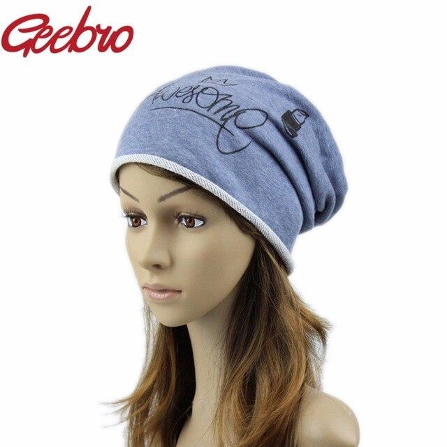 Geebro Funny Beanies Hats For Women 2017 Thin Solid Hats Women Winter  Skullies Cartoon Balaclava Bonnet Femme Spring Caps JS285 258b85f760f