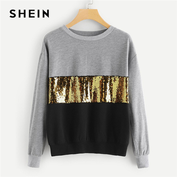 SHEIN Multicolor Contrast Cut and Sew Sequin Sweatshirt Casual Colorblock Long Sleeve Pullovers Women Autumn Sweatshirts
