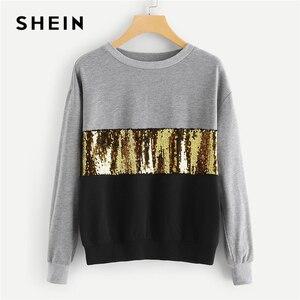 Image 1 - SHEIN 多色コントラストカットと縫うスパンコールトレーナーカジュアルカラーブロックロングスリーブ女性の秋スウェット