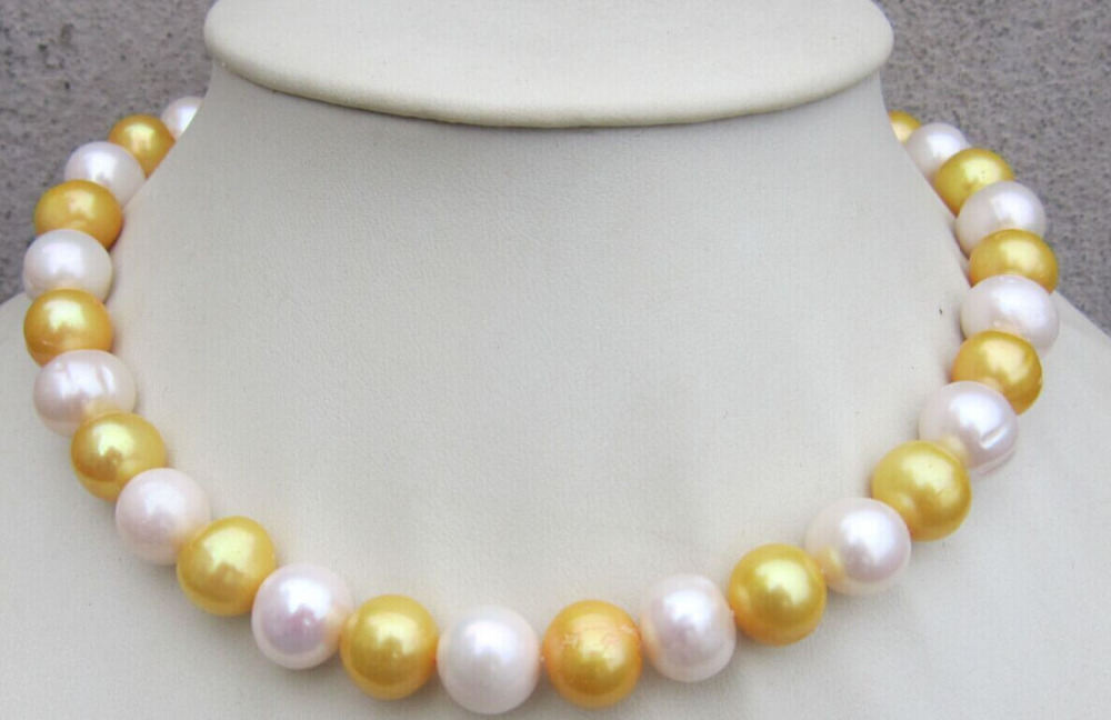 18 NATURAL SOUTH SEA 11-12MM WHITE YELLOW PEARL NECKLACE18 NATURAL SOUTH SEA 11-12MM WHITE YELLOW PEARL NECKLACE