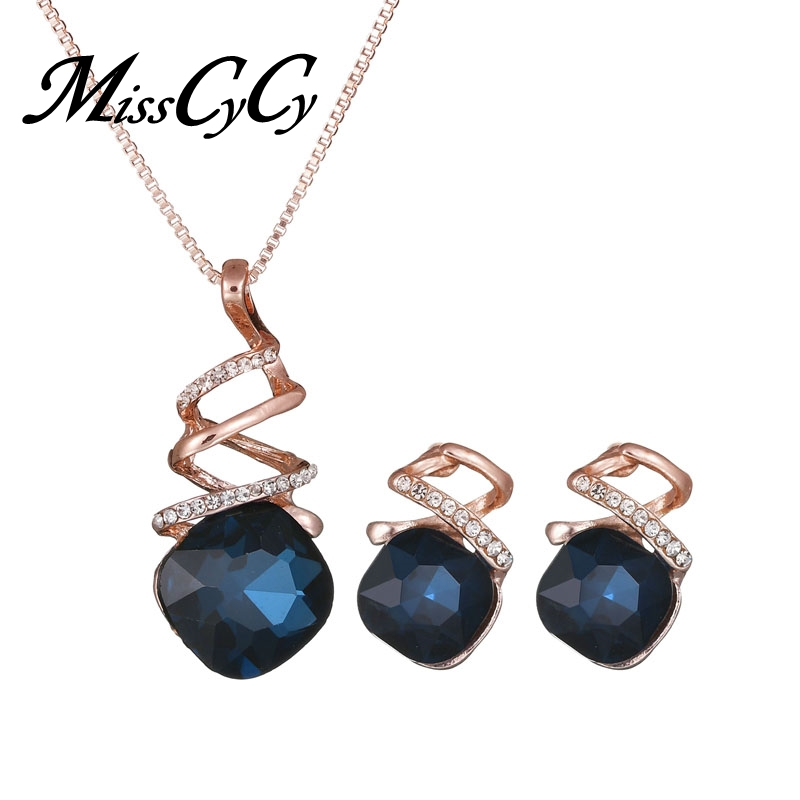 MissCyCy Geometry Crystal Necklace Earrings for Women Fashion Wedding Bridal Jewelry Sets Party Accessories