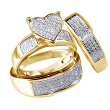 Luxury Heart Gold Wedding Ring Set CZ Pave Crystal Rings for Women Fashion Jewelry Couple Love Ring Men Engagement Gift  O3M039 luxury heart gold wedding ring set cz pave crystal rings for women fashion jewelry couple love ring men engagement gift o3m039