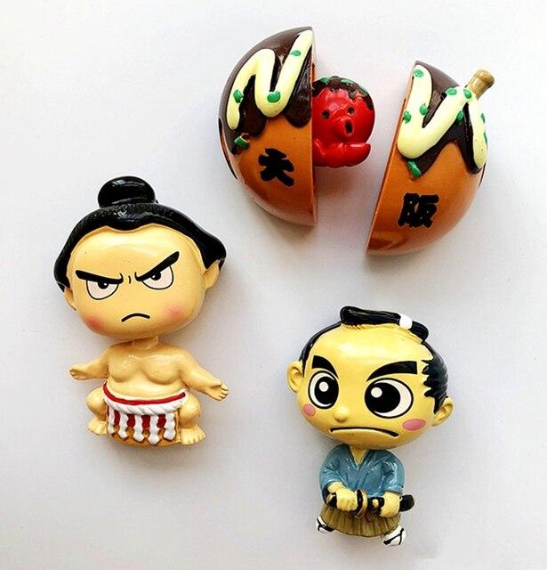 Nuevos imanes de heladera de resina 3D del pulpo de Los samuráis japoneses de Sumo, regalo de calcomanías magnéticas del refrigerador
