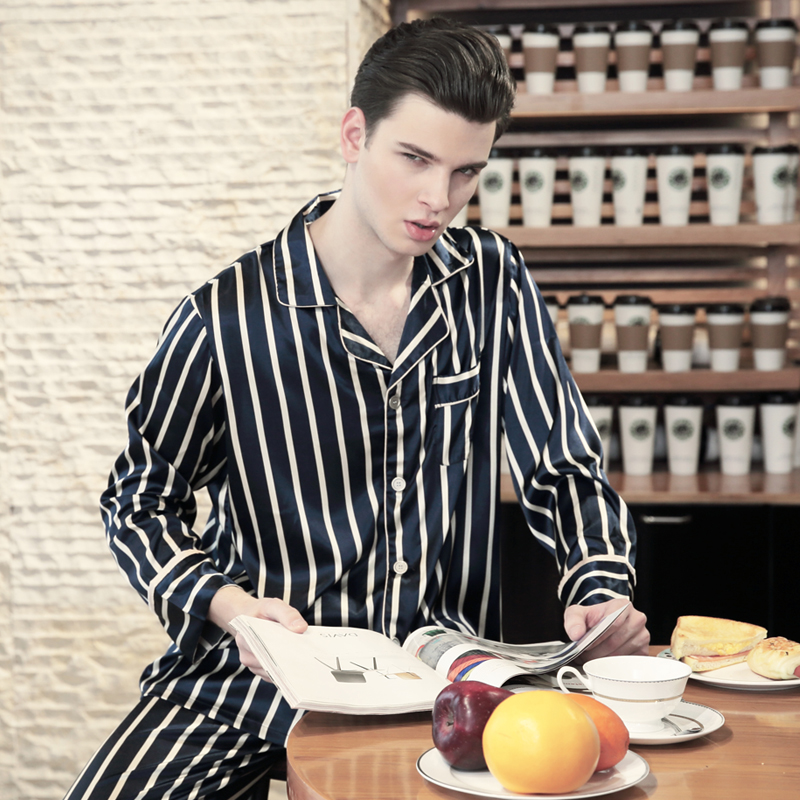 Men Silk Satin Pajama Sets Striped Pyjama Femme Full Sleeve Pijama Set Spring Autumn Sleepwear Nightwear Top & Pant Two Pieces