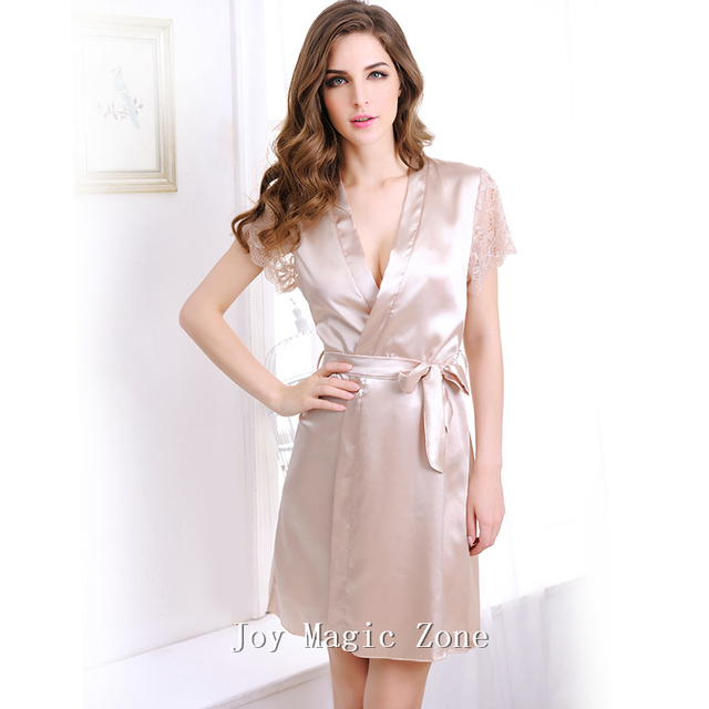 yomrzl L416 new arrival summer sexy lace women's robe, high quality silk comfortable bathrobes, short sleeve sleepwear