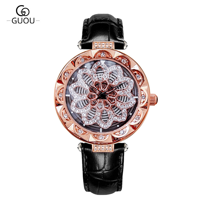 4 Colors! Women Fashion Watches Lady Light Luxury Style Rotating dial watch vacuum plating Wristwatch Lady Genuine Leather Watch4 Colors! Women Fashion Watches Lady Light Luxury Style Rotating dial watch vacuum plating Wristwatch Lady Genuine Leather Watch