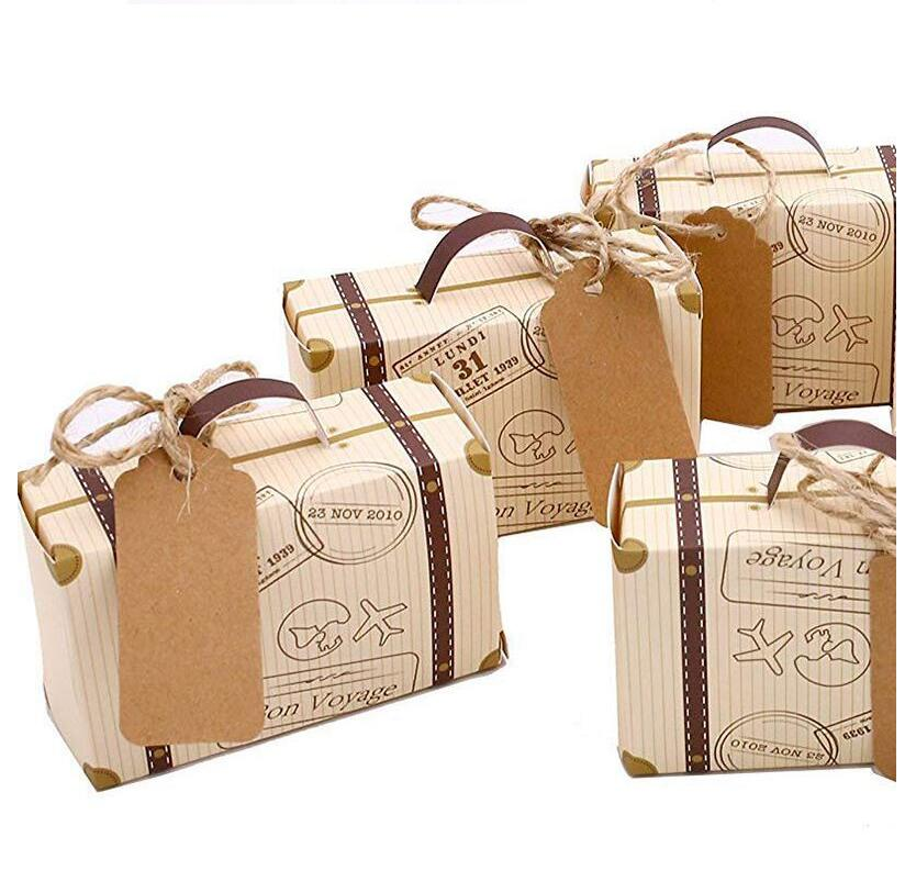 50pcs/lot 8x5x3cm Mini Suitcase Paper Box Party Candy Travel Themed Gift Boxes Vintage Kraft with Tags and rope