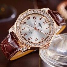 2017 de Lujo de Las Mujeres Relojes de Pulsera de Las Señoras Correa de Cuero Rhinestone Pulsera Chica Famosa Marca de reloj de Cuarzo Relojes Mujer
