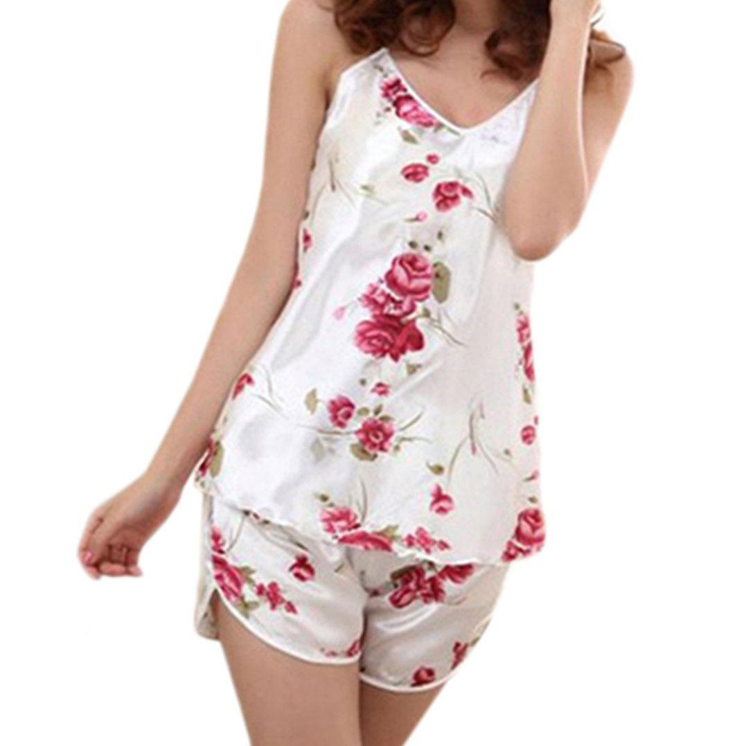 f40a17640ce8 MAKE Hot Women s Sleepwear Pajamas Set Blouse Shirt +Short Pants