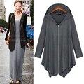 4XL Autumn Famous Brand Plus Size Women rregular Zip Long Sleeve Hooded Jacket Loose Cape Outwear Irregular Poncho Coat Cardigan