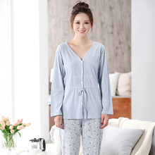 Spring Autumn Simplicity Cotton Pajama Sets for Women V-neck Pijamas Mujer Full Sleep Shirts Beautifull Floral Pajamas Pants