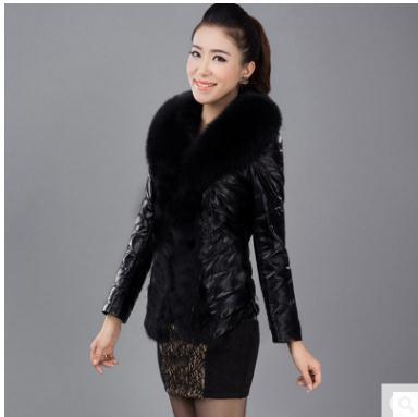 Female Winter Autumn Short Secion Pu Leather Jacket Patchwork Fake Fur Coats Large Size Black Mens Fake Fur Jackets S/6Xl K802